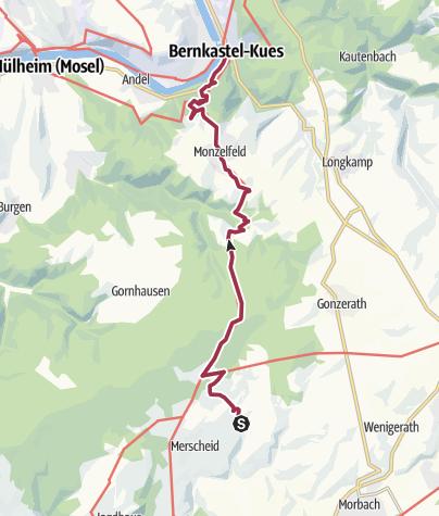 Karte / Hunsrückhöhenweg 09. Etappe: Morbach-Heinzerath - Bernkastel-Kues