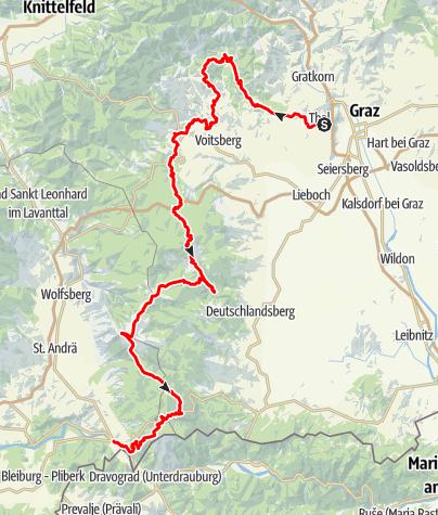 Karte / Jakobsweg Weststeiermark von Thal/Graz bis Lavamünd/Kärnten