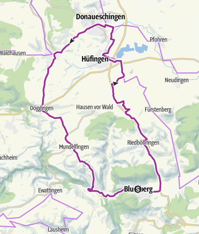 Karte / Städteviereck-Route ab Blumberg