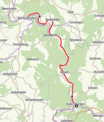 Karte / Weser-Radweg, 01.Etappe: Von Hann. Münden bis Bad Karlshafen