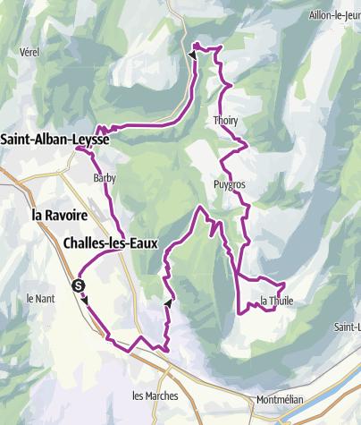 Map / Route Bauges Chignin Lac de la Tuile Thoiry