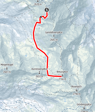 Map / With snowshoes from the Glungezer to the Kreuzspitze