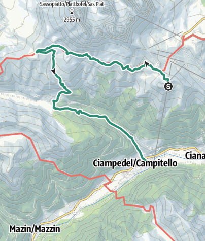 Map / Rundwanderung zu den Hütten Pertini, Plattkofel und Micheluzzi