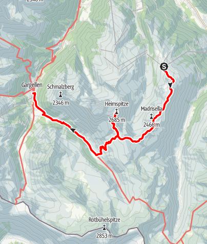 Karte / Über den Höhenweg und Matschuner Joch auf die Heimspitze nach Gargellen