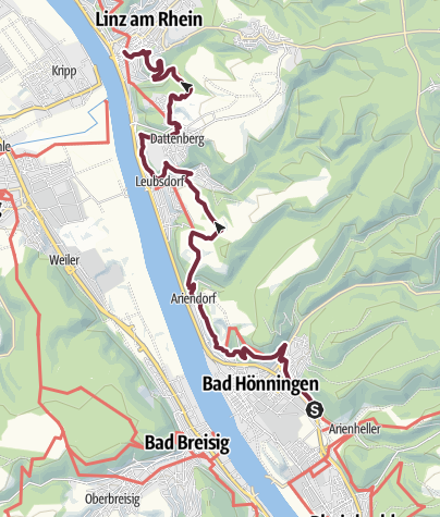 Map / Rheinsteig Stage 18: Bad Hönningen - Linz (South - North)