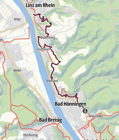 Karte / Rheinsteig 18. Etappe Bad Hönningen - Linz (Süd-Nord)