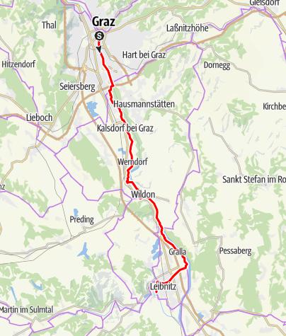 Karte / Etappe 06 Murradweg Graz - Leibnitz
