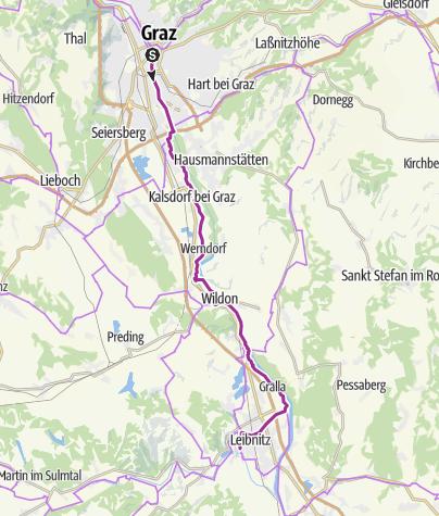 Karte Graz.Etappe 06 Murradweg Graz Leibnitz Radtour