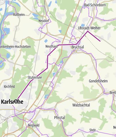 Karte / Sternfahrt von Karlsruhe nach Unteröwisheim