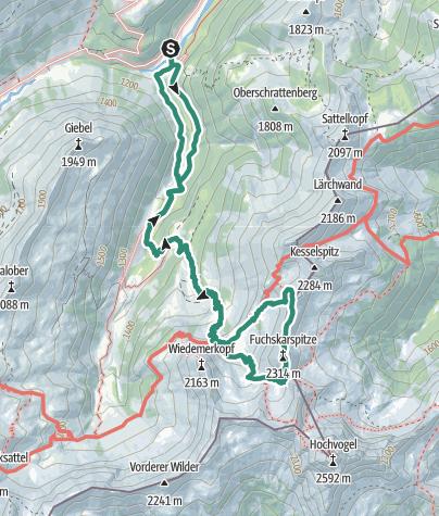 מפה / Fuchskarspitze Überschreitung
