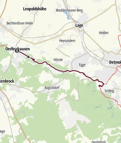 Karte / Hermannshöhen - Etappe 08 von Oerlinghausen zum Hermannsdenkmal