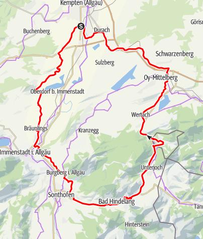 Karte / Berge satt – auf Aussichtstour ins südliche Oberallgäu