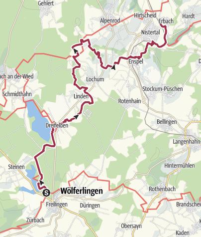 Karte / WesterwaldSteig  06. Etappe Freilingen - Nistertal (Ost-West)