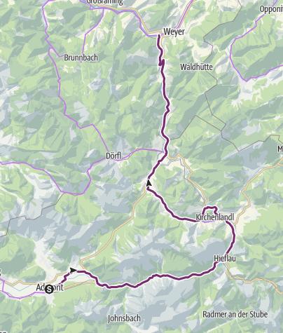 Karte / Ennstalradweg R7 - 4. Tagesetappe durch die Alpenregion Nationalpark Gesäuse