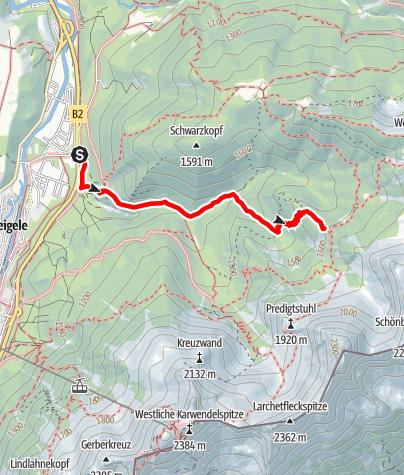Map / Zustieg Hochlandhütte von Mittenwald (Edelweiß-Kaserne) oder Mittenwald Bahnhof