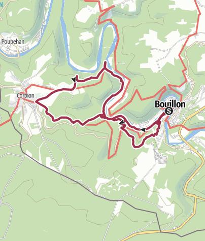 Karte / Rund um Bouillon – Entlang der Semois nach Corbion