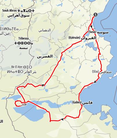 Mapa / Tour por Túnez: Hammamet - Sáhara