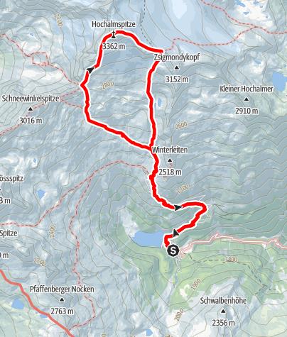 Karte / Hochalmspitze von der Giesener Hütte (Aufstieg Detmolder Grat, Abstieg Steinerne Mandln)