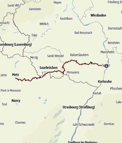Karte / Jakobsweg Speyer-Metz - Nordvariante