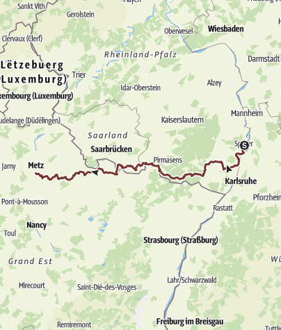 Karte / Jakobsweg Speyer-Metz - Südvariante