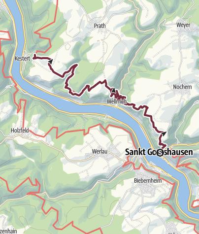 Karte / Rheinsteig 08. Etappe St. Goarshausen - Kestert (Süd-Nord)