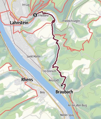 Karte / Rheinsteig 11. Etappe Niederlahnstein - Braubach (Nord-Süd)
