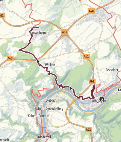 Map / RheinBurgenWeg Stage 9: Winningen - Bassenheim (South - North)