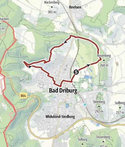 Karte / Entspannung - Wanderweg nördlicher Sachsenring Bad Driburg