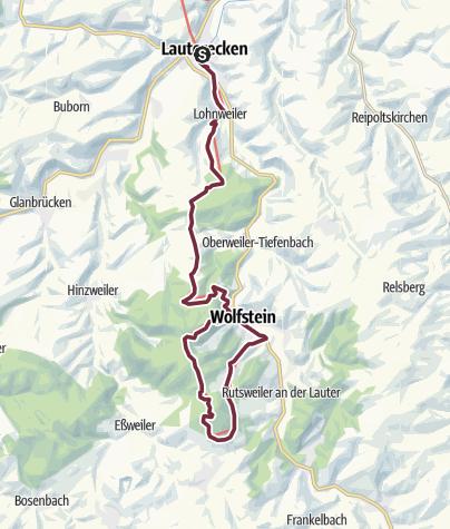 Karte / Pfälzer Höhenweg Etappe 07 Lauterecken - Wolfstein