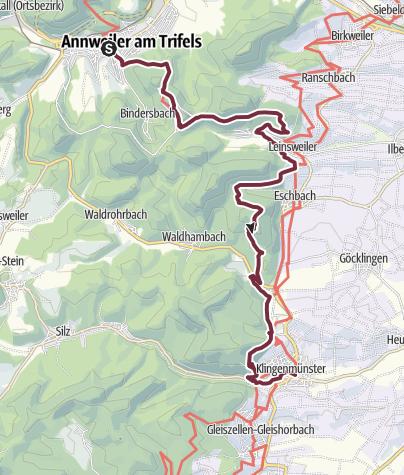 Karte / Pfälzer Weinsteig Etappe 09 Annweiler am Trifels - Klingenmünster