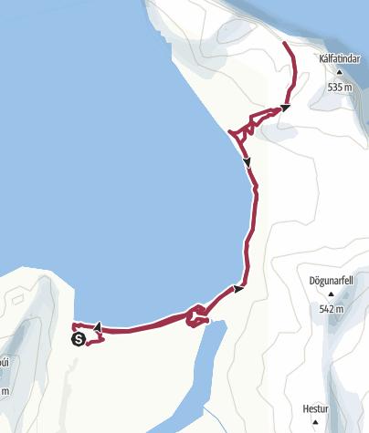 Mappa / da hofn(hornvik) fino all'hornsbjarg