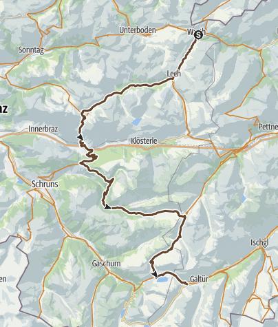 Karte / Alpencross durch Vorarlberg   Klostertal