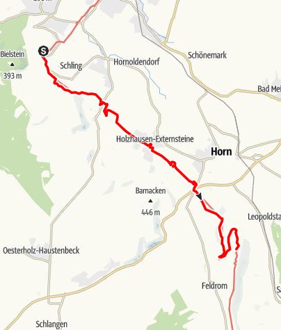 Karte / Hermannshöhen - Etappe 09 vom Hermannsdenkmal über die Externsteine nach Leopoldstal
