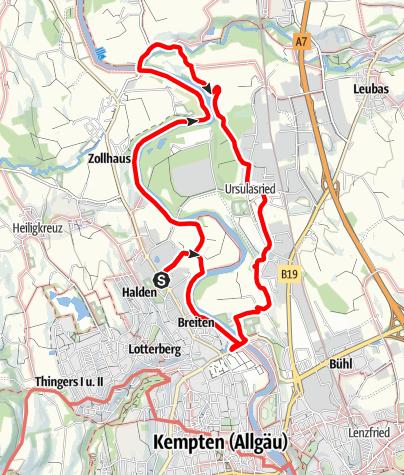 Karte / Kempten Wandertour: Rundweg am Illerbogen