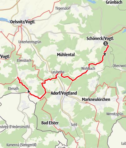 """Karte / Kammweg Etappe 14 """"Von Schoeneck nach Eichigt"""""""