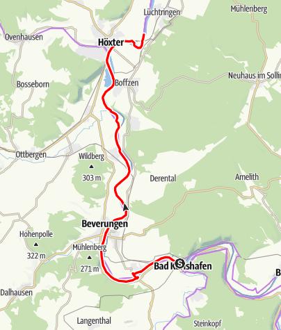Karte / Weser-Radweg, 02.Etappe: Von Bad Karlshafen bis Höxter