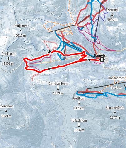 Carte / Sur d'anciens chemins valaisans – Chemin en boucle de Damüls