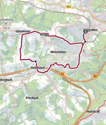 Map / Höhenwanderweg Götzwiesen Eichgraben
