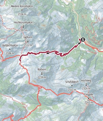 Karte / Von Schroecken zur Biberacher Hütte 1.Tag