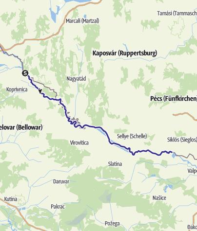 Karte / Kanutouren auf der Drau (Region Pannonien)