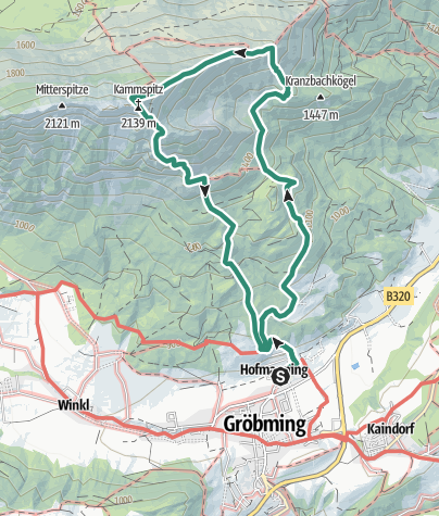 Map / To the Top of the Gröbminger Kammspitze - elev. 2.139 m