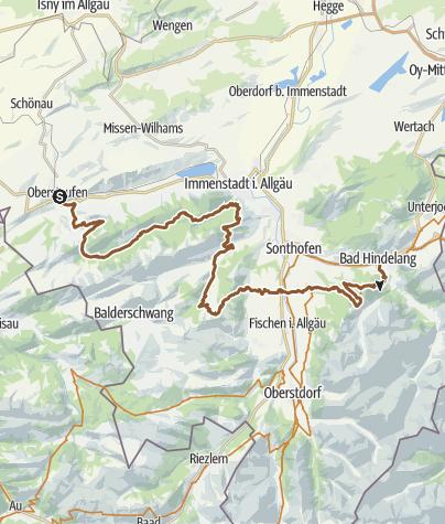 Karte / Trans-Allgäu, 1. Etappe Oberstaufen-Bad Hindelang