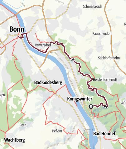 Map / Rheinsteig Stage 21: Königswinter - Bonn (South - North)