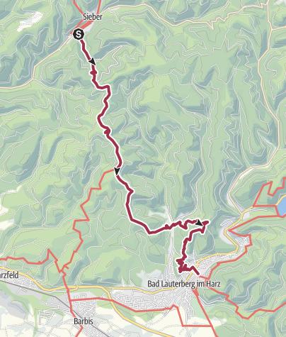 Karte / Harzer BaudenSteig 3: Von Sieber nach Bad Lauterberg