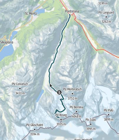 Karte / Eselsgrat am Piz Roseg – Etappe 2