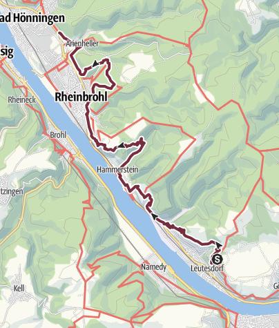Map / Rheinsteig Stage 17: Leutesdorf - Bad Hönningen (South - North)