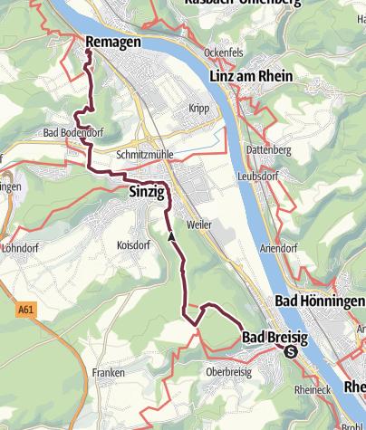 Karte / RheinBurgenWeg 12. Etappe Bad Breisig - Remagen (Süd-Nord)