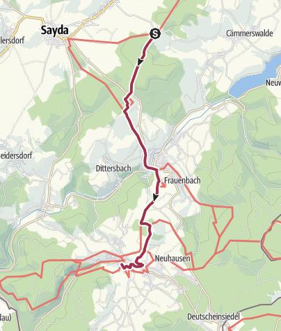 """Karte / Kammweg Etappe 03 """"Von Sayda nach Seiffen"""""""