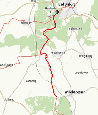Karte / Hermannshöhen - Etappe 11 von Bad Driburg nach Willebadessen