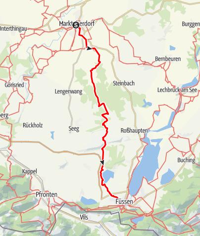 Karte / Ostallgäuer Wanderweg Marktoberdorf-Füssen